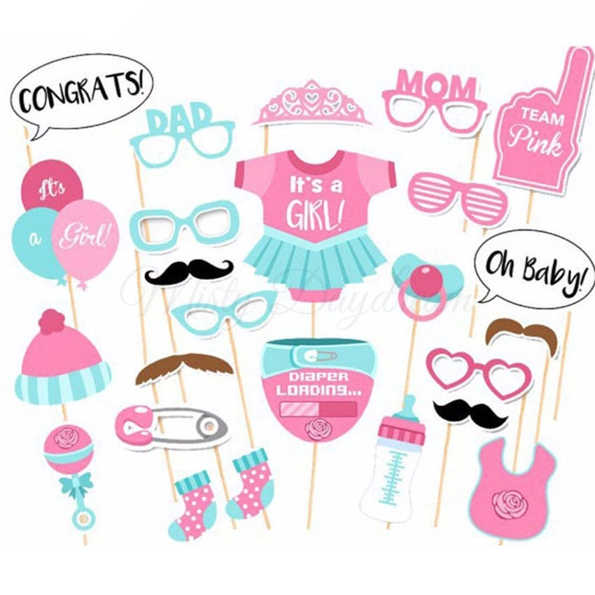 Team Baby Girl Pink Photobooth Props Set of 25 - Misty