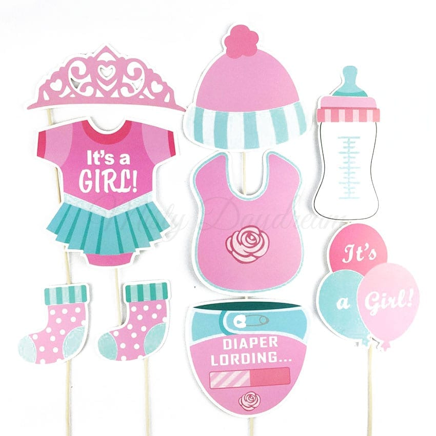 Team Baby Girl Pink Photobooth Props Set Of 25 Misty