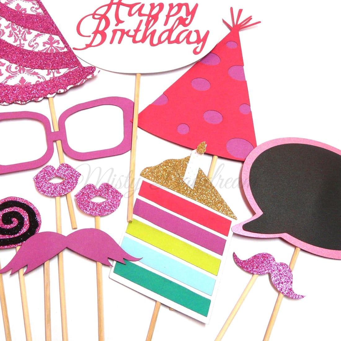 Glitter Happy Birthday Pink Photobooth Props Set Of 18