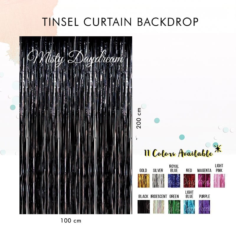 Metallic IRIDESCENT Tinsel Curtain Backdrops 200cm X 100cm