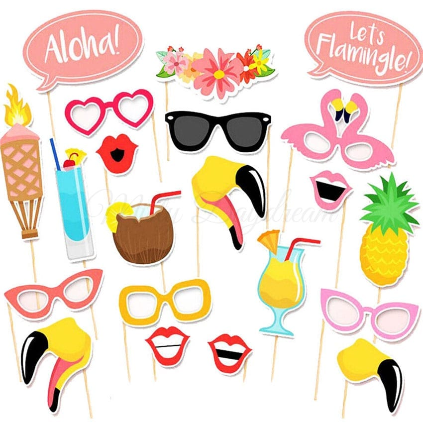 flamingo summer party photo booth props set of 21 misty. Black Bedroom Furniture Sets. Home Design Ideas