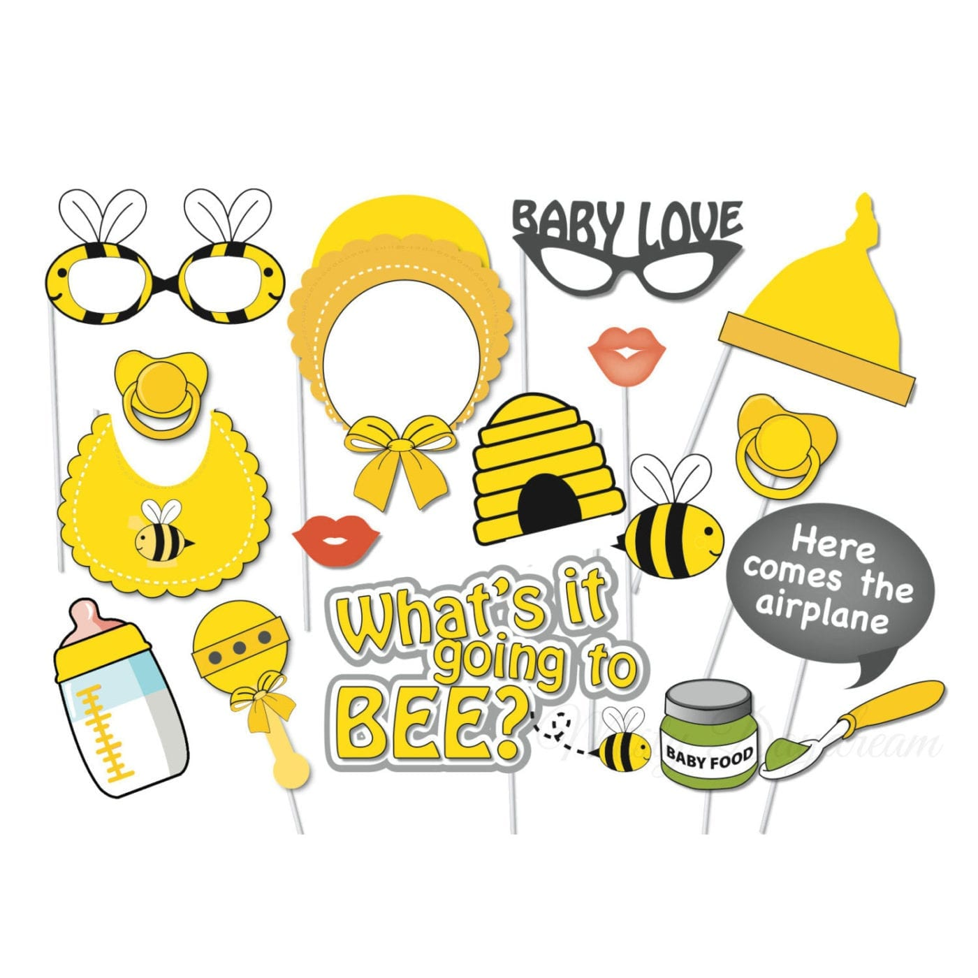 baby love bee photobooth props set of 17