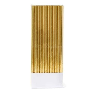 Metallic foiled gold party straws
