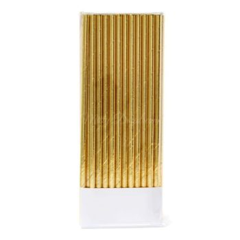 Metallic foiled gold party straws