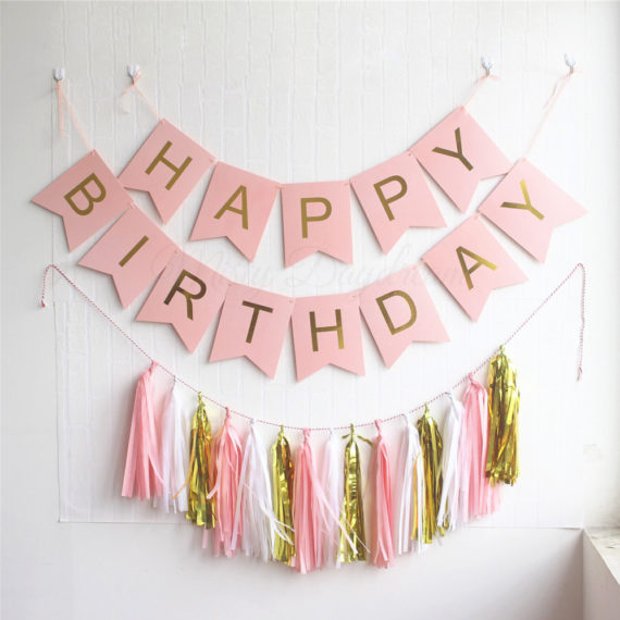 Gold Pleated HAPPY BIRTHDAY Pink Banner + 15pc Tassels Kit