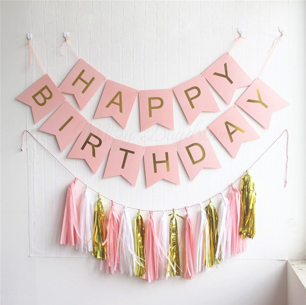 Gold Pleated Happy Birthday Pink Banner 15pc Tassels Kit