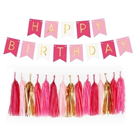 Gold Pleated HAPPY BIRTHDAY Tri-Color Banner + 20pc