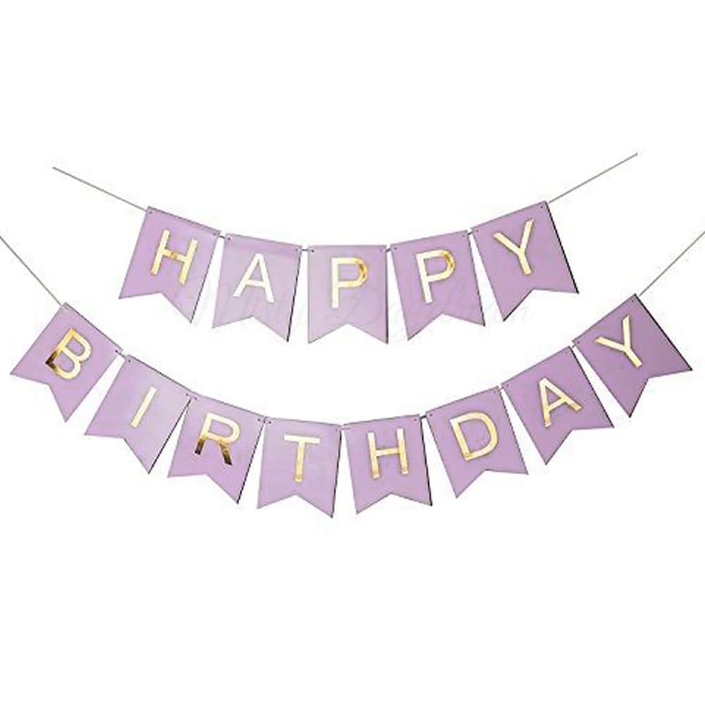 Gold Foiled HAPPY BIRTHDAY Lettering On Purple Cards