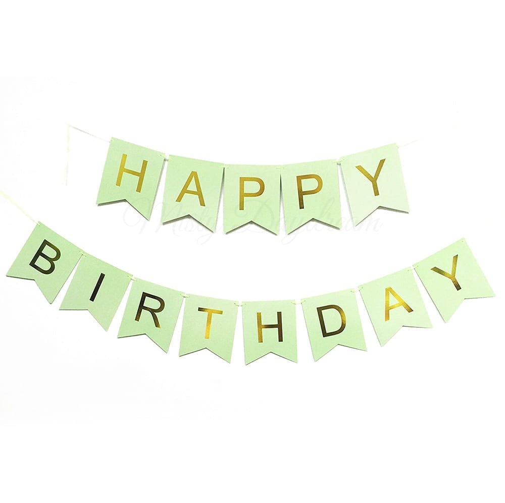 Gold Foiled HAPPY BIRTHDAY Lettering On Mint Cards