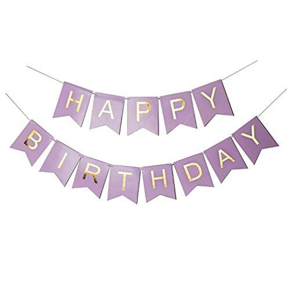 Gold Pleated HAPPY BIRTHDAY Light Purple Banner + 15pc