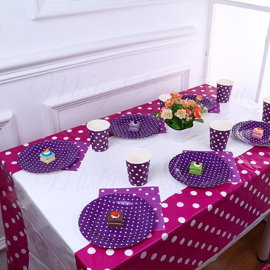 Party Tablecloth Polka Dots Misty Daydream