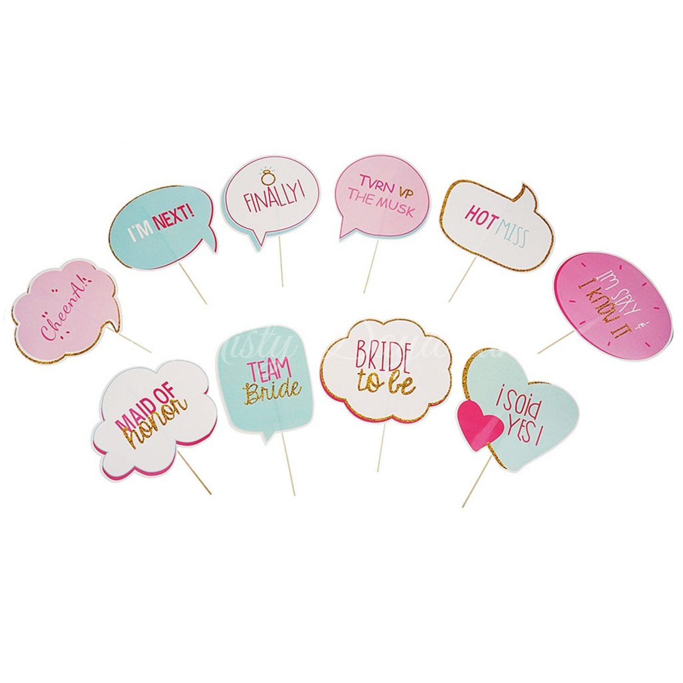 Pastel Colour Bride To Be Photobooth Props Set Of 10 Kit