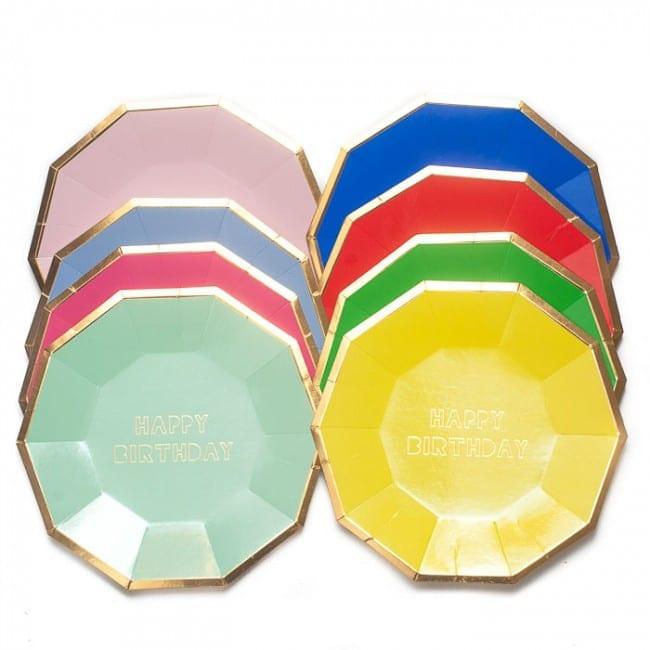 HAPPY BIRTHDAY Small Decagon Plates 7″ (Set Of 8)
