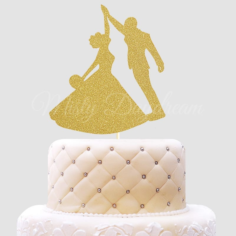 Bride and Groom Silhouette Gold Glitters Cake Topper - Misty Daydream