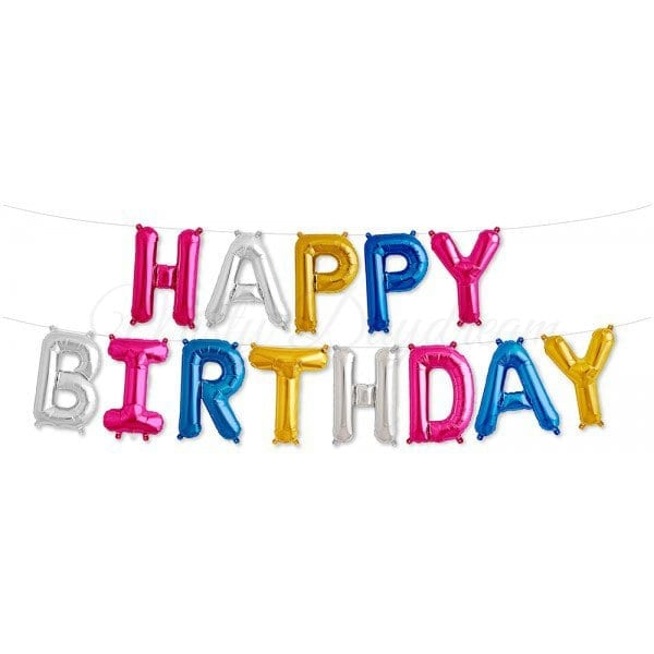 16 Inch HAPPY BIRTHDAY Letter Foil Balloons Banner MULTI COLOUR