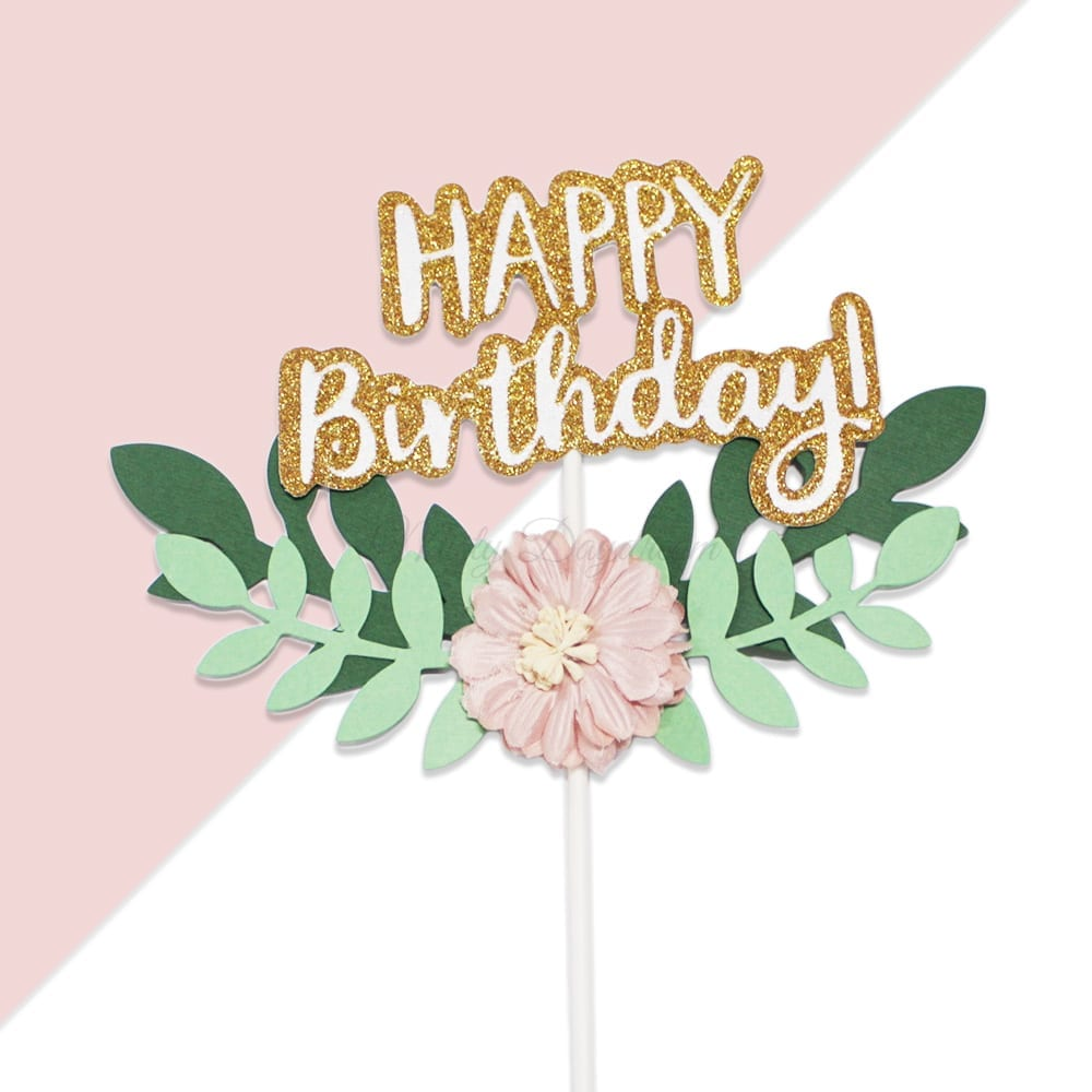 Excellent Happy Birthday With Floral Wreath Layered Cake Topper Funny Birthday Cards Online Benoljebrpdamsfinfo