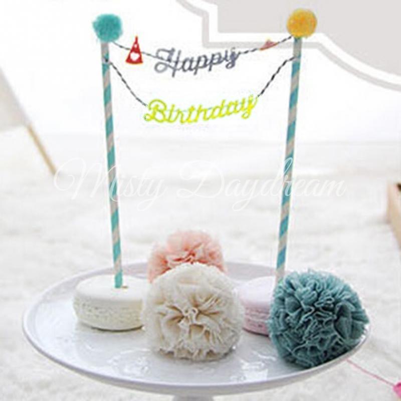 Grey Yellow Happy Birthday With Blue Striped Straw Cake