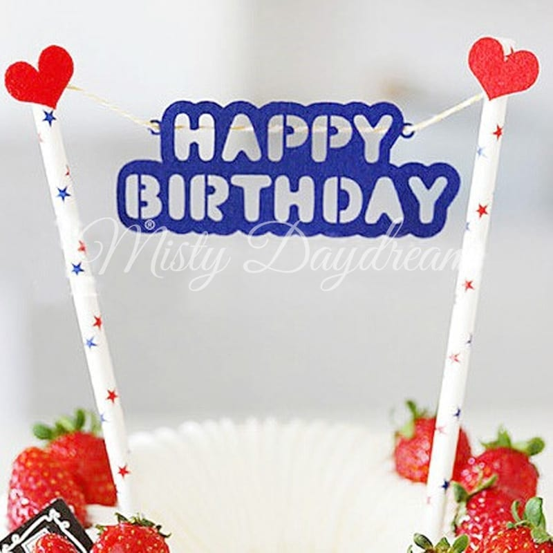 Blue Happy Birthday With Blue Red Stars Straw Cake Topper