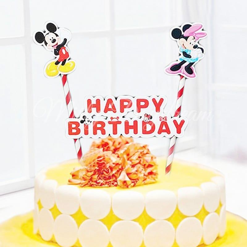 Mickey Minnie Happy Birthday Red Striped Straw Cake Topper Misty