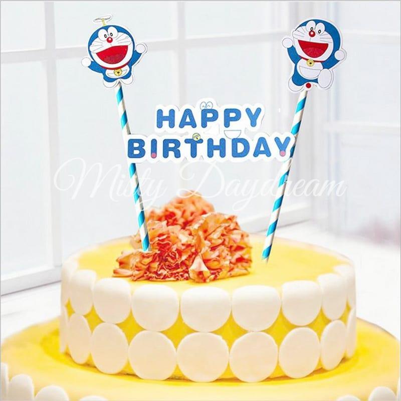Doraemon Happy Birthday Blue Striped Straw Cake Topper