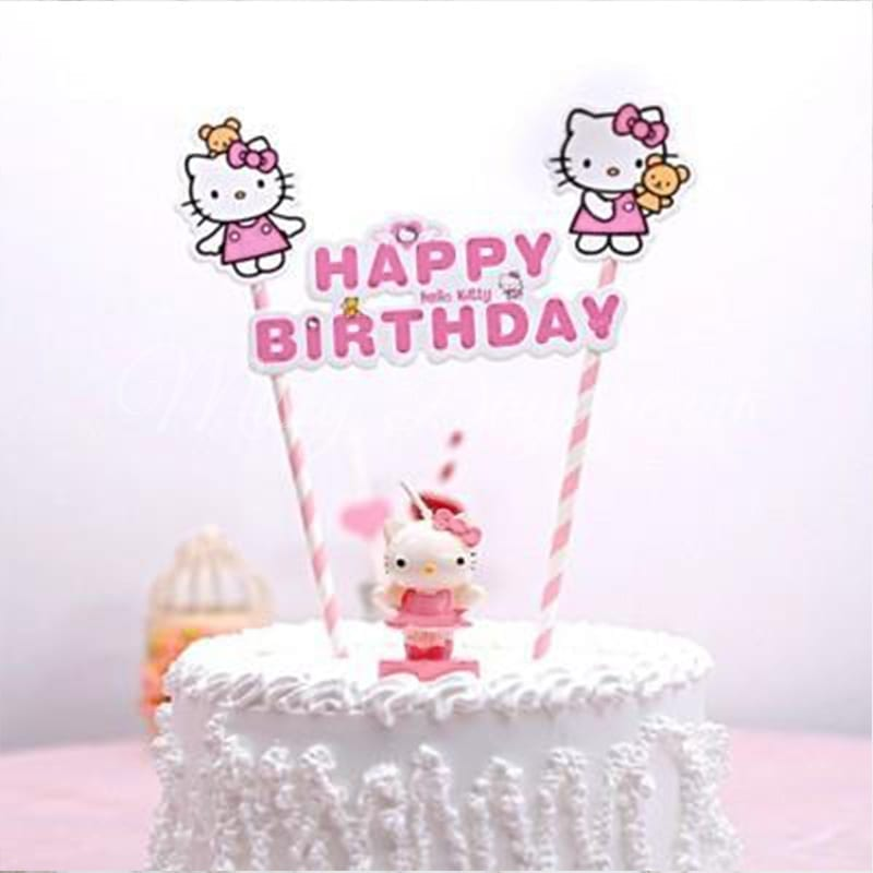 Hello Kitty Happy Birthday Pink Striped Straw Cake Topper Misty