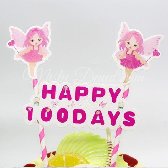 Happy 100 Days Pink Striped Straw Cake Topper