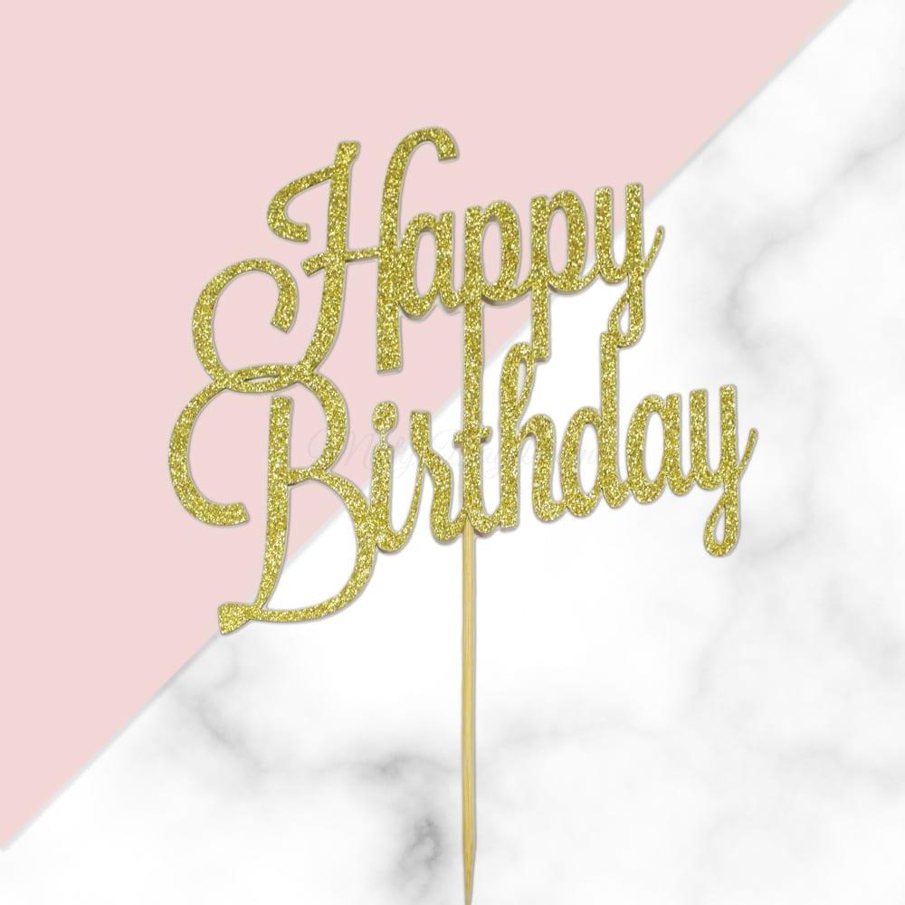 Happy Birthday Classic Gold Glitters Script Font Cake