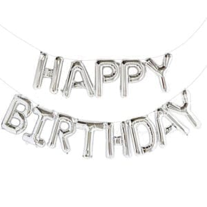 Silver Happy Birthday Balloons