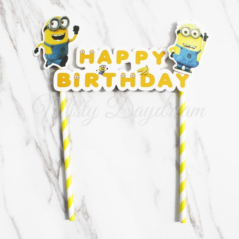 Incredible Minion Happy Birthday Yellow Striped Straw Cake Topper Personalised Birthday Cards Cominlily Jamesorg
