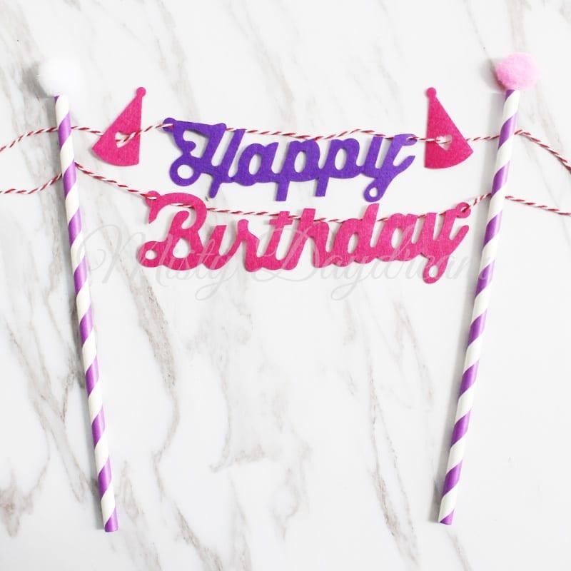 Happy Birthday Purple Pink With Purple Striped Straw Cake
