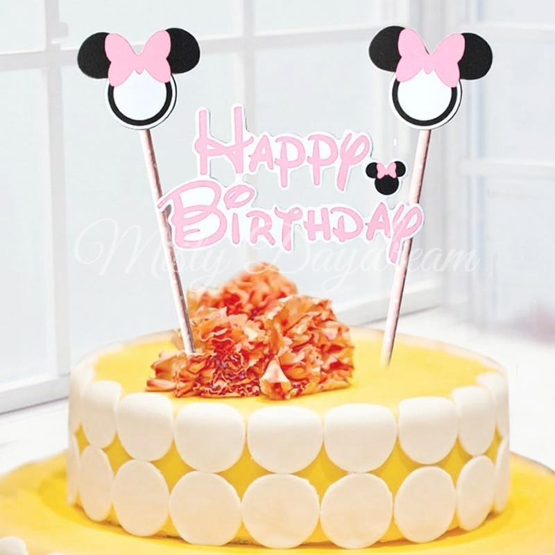 Minnie Happy Birthday Pink Striped Straw Cake Topper