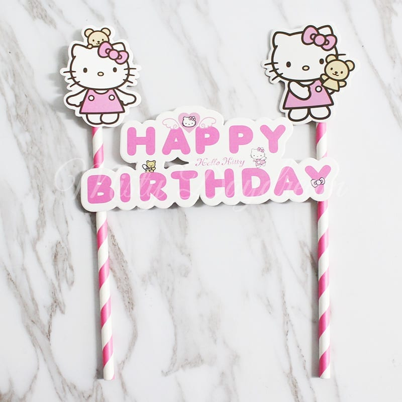 Hello Kitty Happy Birthday Pink Striped Straw Cake Topper