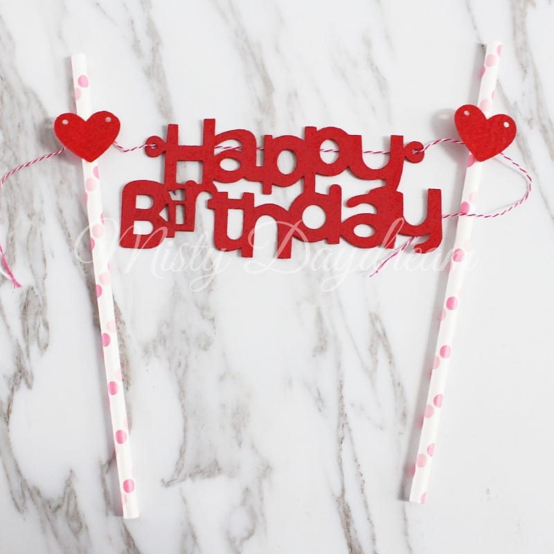 Happy Birthday Red Lettering With Hearts Pink Straw Cake