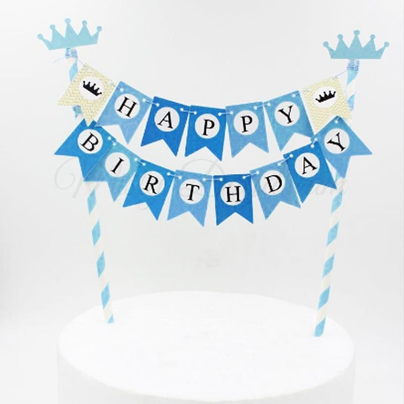 Happy Birthday Bunting Banner Cake Topper Blue