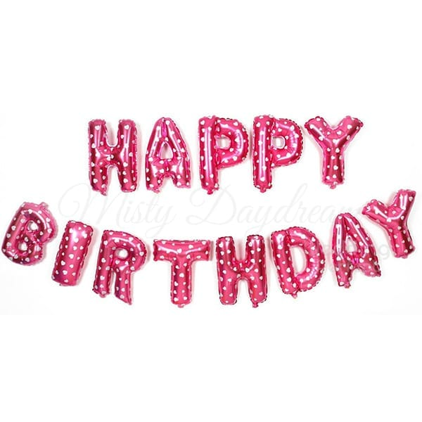 16 Inch Happy Birthday Letter Foil Balloons Set Pink
