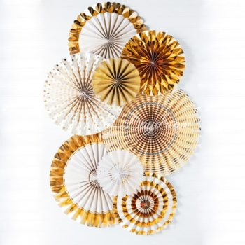 Gold Pinwheel Fans Rosettes Backdrop Set