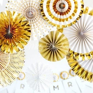 Gold Pinwheel Fans Rosettes Backdrop Set