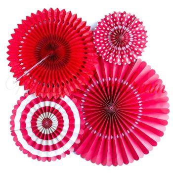 Red Pinwheel Fans Rosettes Backdrop Set