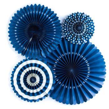 Navy Blue Pinwheel Fans Rosettes Backdrop Set