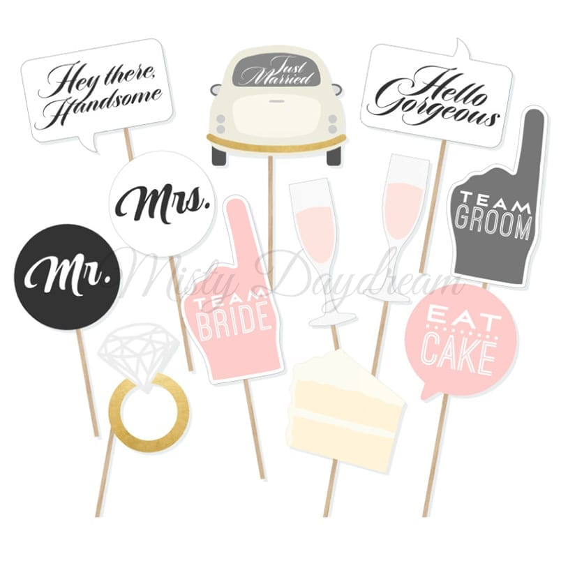team bride team groom eat cake photo booth props set of 12