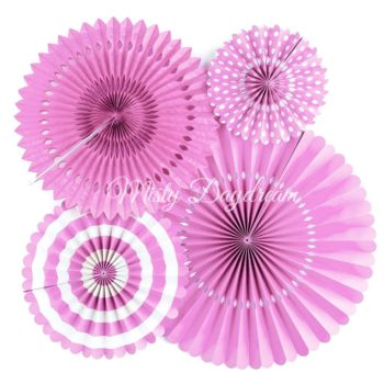 Taffy Pink Pinwheel Fans Rosettes Backdrop Set