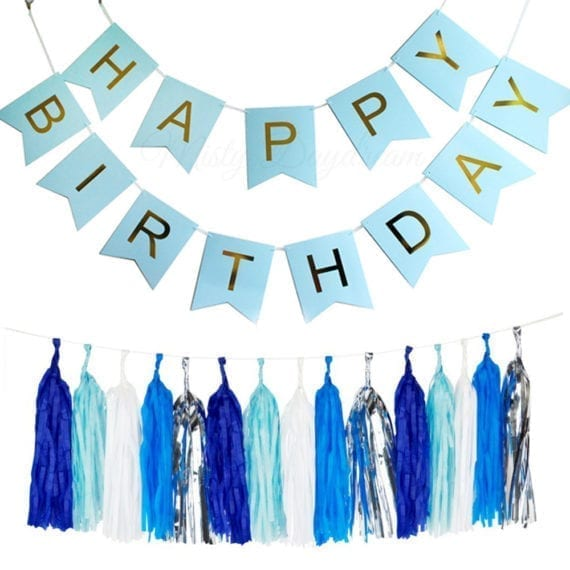 Gold Pleated HAPPY BIRTHDAY Light Blue Banner + 25pc