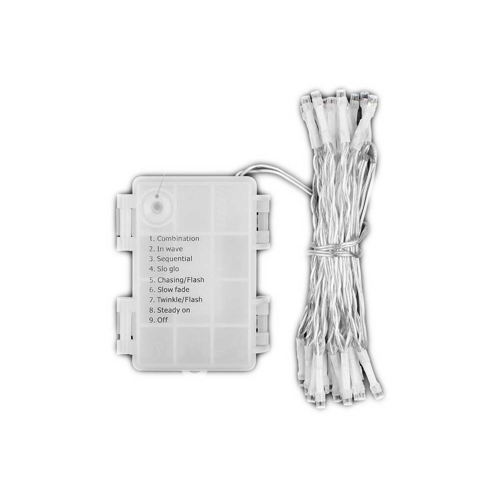 Led String Fairy Lights Warm White 9 Mode Battery Operated