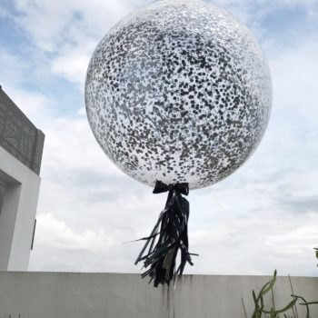 36inch Silver Confetti personalized balloons