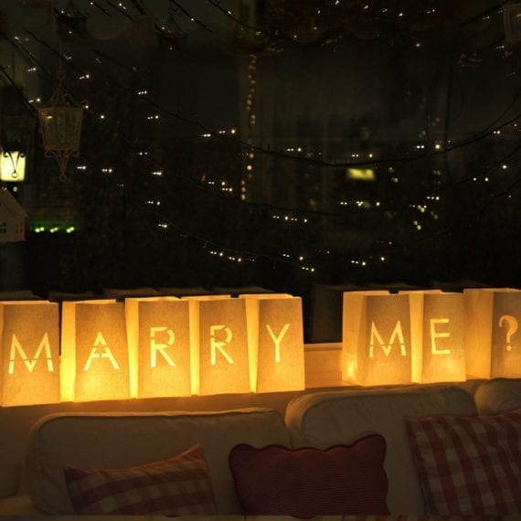 Quot Marry Me Quot Candle Flame Resistant Luminary Candle Letter