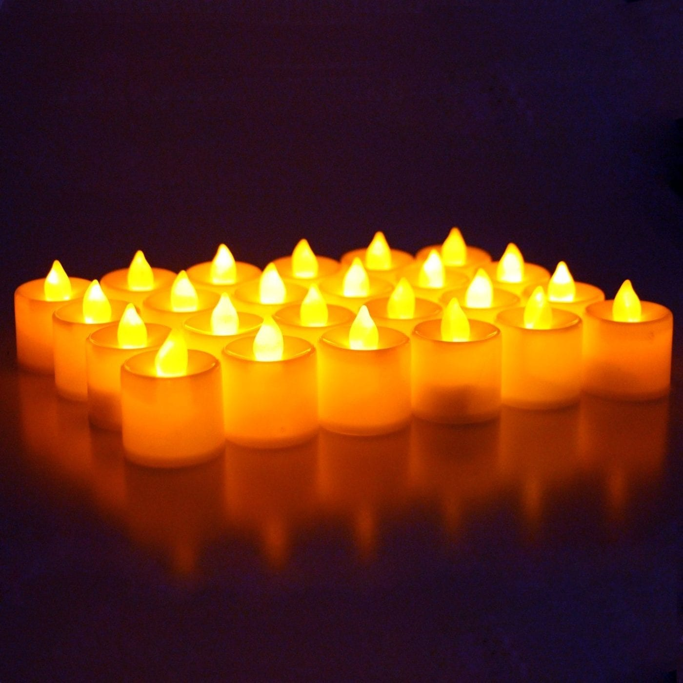 Led Battery Operated Flameless Tealight Candles 24pc Bulk Pack Misty Daydream