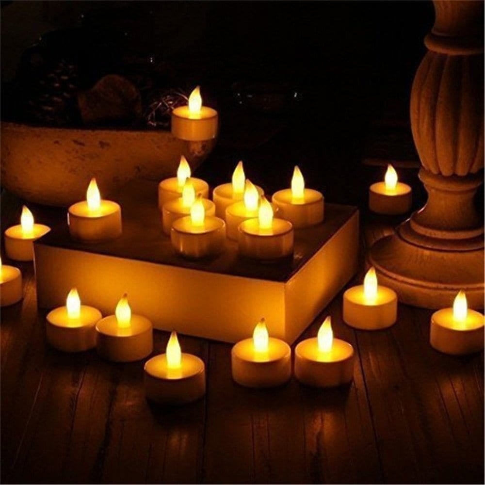 operated flameless tealight candles 24pc bulk pack misty daydream. Black Bedroom Furniture Sets. Home Design Ideas