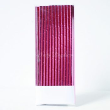 25pc Metallic Foil Straws - Magenta