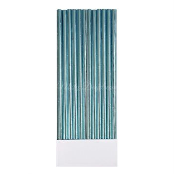 25pc Metallic Foil Straws - Aqua