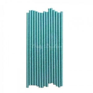 25pc Metallic Foil Straws – Aqua